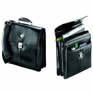 Servieta din piele naturala, neagra, pentru laptop 15.6, FALCON ACOMI.ro