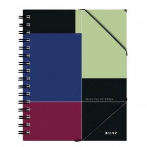 Caiet de birou LEITZ Executive Be Mobile, PP A5, cu spira, matematica - negru/violet - ACOMI.ro