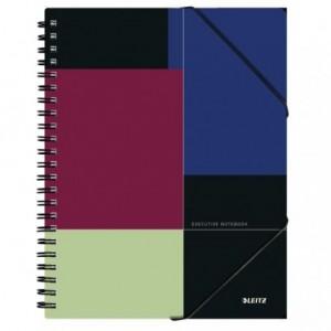 Caiet de birou LEITZ Executive Be Mobile, PP A4, cu spira, dictando - negru/violet - ACOMI.ro