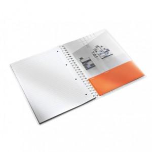 Caiet de birou LEITZ Wow, PP, A4, cu spira, dictando - portocaliu metalizat - ACOMI.ro