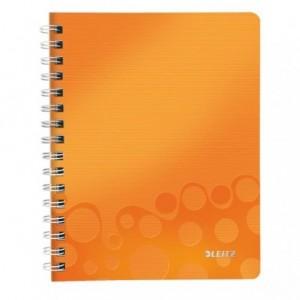 Caiet de birou LEITZ Wow, PP, A5, cu spira, matematica - portocaliu metalizat - ACOMI.ro
