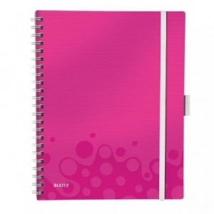 Caiet de birou LEITZ Wow Be Mobile, PP, A4, cu spira, matamatica - roz metalizat - ACOMI.ro