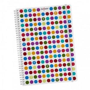 Caiet de birou cu spira, A4, 70 file, dictando, cu elastic Dots  Snopake - ACOMI.ro