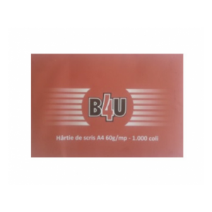 Hartie de scris A4 60 grame/mp, 1000 coli/top B4U - ACOMI.ro