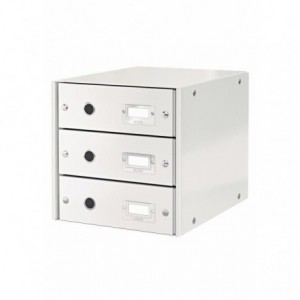 Suport pentru documente cu 3 sertare, alb, LEITZ Click & Store - ACOMI.ro