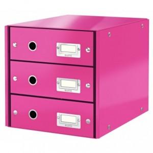 Suport pentru documente cu 3 sertare, roz, LEITZ Click & Store - ACOMI.ro