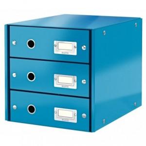 Suport pentru documente cu 3 sertare, turcoaz, LEITZ Click & Store - ACOMI.ro