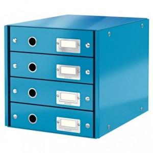 Suport pentru documente cu 4 sertare, albastru, LEITZ Click & Store - ACOMI.ro