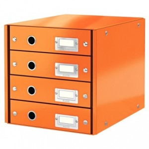 Suport pentru documente cu 4 sertare, portocaliu, LEITZ Click & Store - ACOMI.ro