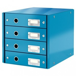 Suport pentru documente cu 4 sertare, turcoaz, LEITZ Click & Store - ACOMI.ro