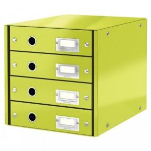 Suport pentru documente cu 4 sertare, verde, LEITZ Click & Store - ACOMI.ro
