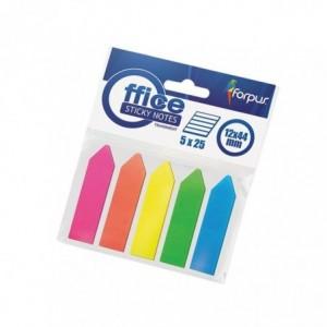 Post-It Index sageata, 12x44mm, plastic mat, 5 culori, Forpus - ACOMI.ro