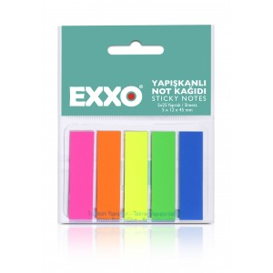 Index autoadeziv hartie , 12x45mm, 5 culori neon, EXXO - ACOMI.ro