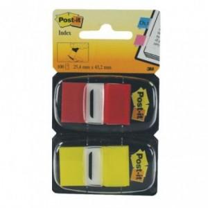 Post-it Index Clasic 25,4 x 43,7mm 50 file, 2 bucati/pachet rosu/galben - ACOMI.ro
