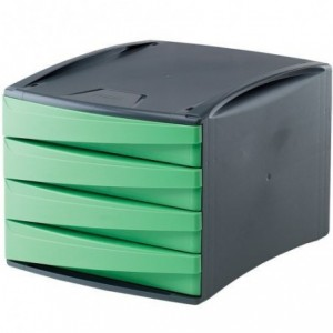 Suport documente, 4 sertare, verde, Fellowes G2Desk - ACOMI.ro
