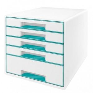 Cabinet cu sertare, 5 sertare, turcoaz metalizat, Wow LEITZ - ACOMI.ro