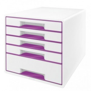 Cabinet cu sertare, 5 sertare, mov metalizat, Wow LEITZ - ACOMI.ro