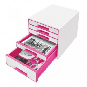 Cabinet cu sertare, 5 sertare, roz metalizat, Wow LEITZ - ACOMI.ro