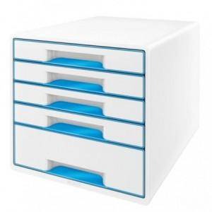 Cabinet cu sertare, 5 sertare, albastru metalizat, Wow LEITZ - ACOMI.ro