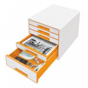 Cabinet cu sertare, 5 sertare, portocaliu metalizat, Wow LEITZ - ACOMI.ro
