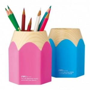Suport instrumente de scris, creion roz/bleu Deli - ACOMI.ro