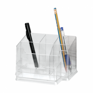 Suport pentru instrumente de scris, 6 compartimente, transparent, FORPUS - ACOMI.ro
