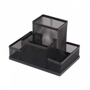 Suport birou metalic, 4 compartimente, MESH negru, ARK - ACOMI.ro