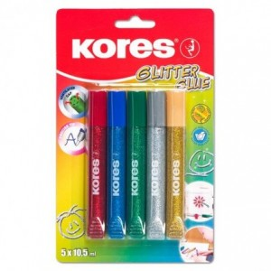 Lipici cu sclipici, 5 culori x 10.5ml, Kores Glitter - ACOMI.ro