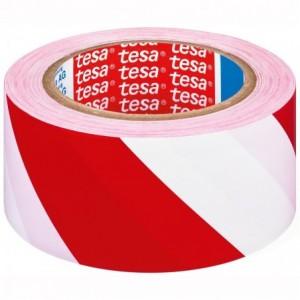 Banda adeziva marcare, rosu / alb, TESA - ACOMI.ro