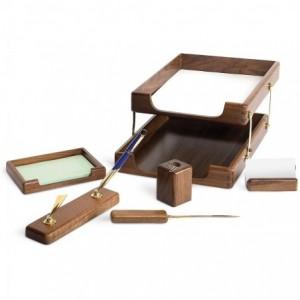 Set birou, 6 piese din lemn de stejar - FORPUS - ACOMI.ro