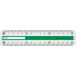 Rigla 15 cm, verde/albastra, Grip Faber-Castell - ACOMI.ro