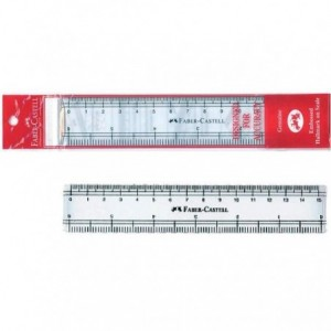Rigla 15 cm, transparenta, Faber-Castell - ACOMI.ro