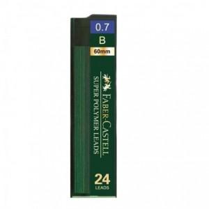 Mina creion 0.7mm, 24 buc/etui, B, Super Hi-Polymer Faber-Castell - ACOMI.ro