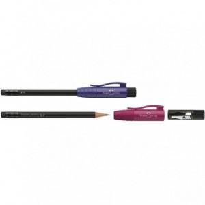 Creion cu ascutitoare si radiera, blackberry, Perfect Pencil II Faber Castell - ACOMI.ro