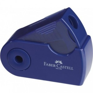Ascutitoare plastic simpla, rosu/albastru, Sleeve-Mini Faber Castell - ACOMI.ro