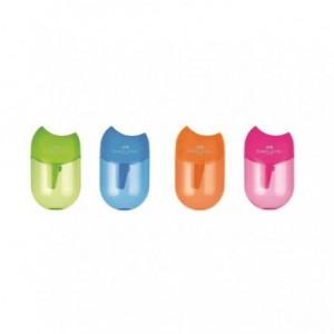 Ascutitoare plastic cu container, pastel Apple Faber Castell - ACOMI.ro