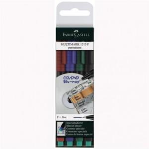 Marker permanent 4 culori/set, 0.6 mm, F Multimark Faber-Castell - ACOMI.ro