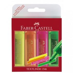 Textmarker Superfluorescent 1546 Faber Castell - 4 culori/set - ACOMI.ro