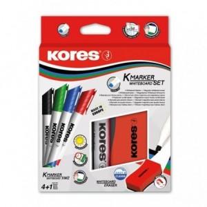 Marker whiteboard, 3mm, 4 culori/set + burete magnetica, Kores - ACOMI.ro