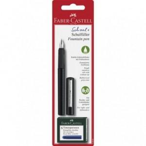 Blister Stilou scolar carbon, 6 rezerve, Faber-Castell - ACOMI.ro