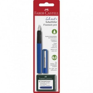 Blister Stilou scolar albastru, 6 rezerve, Faber-Castell - ACOMI.ro