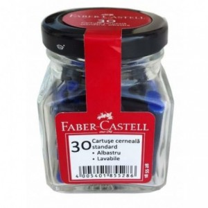 Cartuse cerneala mici, 30 buc/borcan, albastre, Faber-Castell - ACOMI.ro