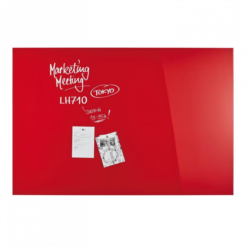 Design Glassboard magnetic rosu, 150 x 100 cm, MAGNETOPLAN - ACOMI.ro