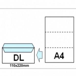 Plic DL (110x220mm) siliconic alb, fereastra dreapta, 1000 buc/cutie, RKV - ACOMI.ro