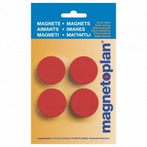 Magneti Ø 34mm, rosu 4 buc/set, Discofix MAGNUM MAGNETOPLAN - ACOMI.ro