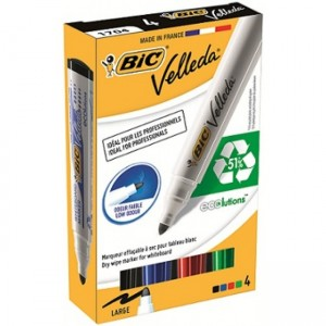 Marker whiteboard 2-4mm, 4 culori/set, Velleda Bic