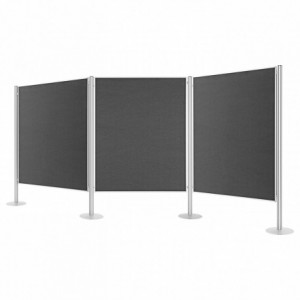 Set 3 panouri prezentare fixe, 1200x1500mm, dubla fata gri, MAGNETOPLAN - ACOMI.ro
