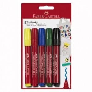 Marker pentru textile, 5 culori/set, Faber-Castell - ACOMI.ro
