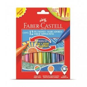 Carioci cu varf retractabil, 12 culori/set, Faber-Castell - ACOMI.ro