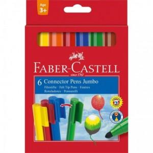 Carioca Connector Jumbo, 6 culori/set, Faber-Castell - ACOMI.ro